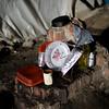 PAUL BILODEAU/Staff photo. A dish rack onto of a piece of building rubble