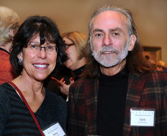 CARL RUSSO/Staff photo. Attending the farewell reception for Addison Gallery of American Art Director Brian T. Allen., Nancy Hogan of Andover, Lawrence Public School teacher and David Meehan, Lawrence Historical Commissioner. 12/5/2013.