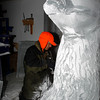 MARY SCHWALM/Staff photo <br /> Don Chapelle works on a seal for an ice sculpture for First Night at the the New England Aquarium at his studio in the Cardinal Shoe Mill in Lawrence.  12/23/13
