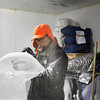 MARY SCHWALM/Staff photo Don Chapelle works on a seal for an ice sculpture for First Night at the the New England Aquarium at his studio in the Cardinal Shoe Mill in Lawrence.  12/23/13
