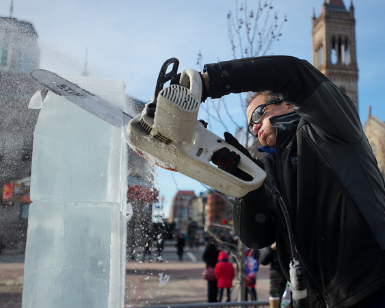 Don Chapelle uses chain saws, chisels, knives, drills and a variety of smaller, finer tools to make the ice come alive. <br />  He is the owner of Brilliant Ice Sculpture and works on the Boston Marathon logo ice sculpture in Copley Square for Boston's First Night celebration.<br /> Photo by Ryan Hutton.