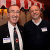 Photo by Frank J. Leone, Jr.     At left, Dennis McCarthy of Lawrence Boys and Girls Club with Jeff Shank of Andover<br /> Advisory Group, both based in Lawrence, at the Merrimack Valley Chamber of Commerce Business Networking Mixer, Tuesday,<br /> Andover Country Club, Andover.<br /> 12-17-13