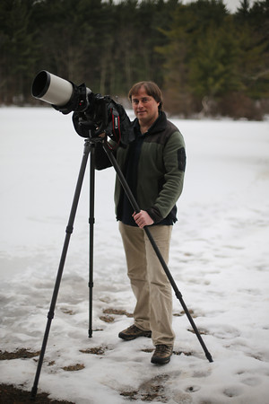 MARY SCHWALM/Staff photo Mark Brown, of Andover, with his camera at Harold Park State Park.  12/29/13