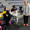 Kane Goodman at Ristuccia Memorial Arena in Wilmington with skating friends Catherine Faherty, 9, of Norwell and Gavin Ford, 6, of North Reading. <br /> Photo by Paul Bilodeau