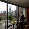 Daniel Arrigg Koh, 29, originally from Andover, is the Chief of Staff for recently elected Boston Mayor Marty Walsh. He stands at Boston City Hall over looking Faneuil Hall.<br /> Photo by Ryan Hutton