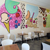 Paintings on the walls are done by a local artist Kate Delaney at Pazzo Gelato Cafe in North Andover.<br /> Photo by Mary Schwalm 5/20/14