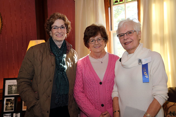 Photo/Reba Saldanha  (from left) Carol Settino, Mary Rosenberg and Sue Violi of all of Windham at the retirement celebration of castle manager Sister Josette Parisi at Searles Castle in Windham, NH Sunday November 8, 2015.