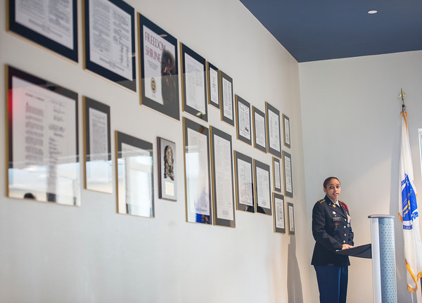 AMANDA SABGA/ Staff photo <br /> <br /> Junior ROTC Cadet 2nd Lt. Keyla Fonder speaks at the Methuen High School Freedom Shrine dedication Tuesday morning. It was donated to them by the Methuen Exchange Club.<br /> <br /> 11/10/15