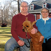 Tom and Jen Boshar of Andover, owners of Big Red Acres Registered Huacaya Alpacas, have a photo taken with Apollo, a baby Alpaca which is also called a Cria. CARL RUSSO/Staff photo.