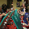MARY SCHWALM/Staff photo A large group participates in a painting lesson hosted by Painting Under the Influence at The Great American Tavern in North Reading. 6/11/14