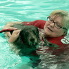 Sue Hunter of North Reading swims with her dog Cassie at the Reading YMCA pool. The Pool was open to dogs and their owner to swim in just before it was scheduled to be washed. Owners paid $20 for a half hour swim with all proceeds going to the Annual Fund, which provide services at the Y to people who can afford them.