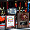 JIM VAIKNORAS/Staff photo Sample of some of the awards and trophies for chilli from the Reading Fire Dept.