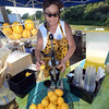 CARL RUSSO Staff photo. READINGS MAGAZINE: Ann Ducharme, owner of Rae's Gourmet Specialty Foods in Londonderry makes some fresh pressed lemonade at the Farmer's Market. The Farmers Market at Ipswich River Park in North Reading is every Wednesday from 4 pm to 7 pm. It started in June and will end on Sept. 28th. 7/13/2016