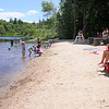 TIM JEAN/Staff photo<br /> Lifeguards on duty watch over swimmers at the recently open beach of Berry Pond in Harold Parker State Forest.  7/2/16