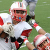 TIM JEAN/Staff photo<br /> Reading Memorial's Matt Panacopoulos makes a sliding catch against Central Catholic High School during a football game at Veterans Memorial Stadium in Lawrence. Reading lost 28-6.  9/10/16
