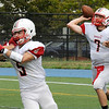 TIM JEAN/Staff photo<br /> Reading Memorial quarterback and captain Corey Diloreto throws a pass against Central Catholic High School during a football game at Veterans Memorial Stadium in Lawrence. Reading lost 28-6.  9/10/16