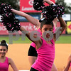 JIM VAIKNORAS/Staff photo  Bella Fisher of the Fusion Dance Team from The Dancing School in North Reading performs at the Lowell Spinners game on July 17th.