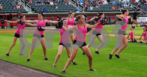 JIM VAIKNORAS/Staff photo The Fusion Dance Team from The Dancing School in North Reading performs at the Lowell Spinners game on July 17th.