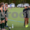 RYAN HUTTON/ Staff photo<br /> North Reading coach Mia Muzio gives Sarah Sabella a quick pointer before subbing her in during the September 14 game at the Amesbury Sports Park against Pentucket.