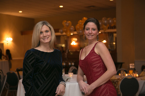 Reading residents and silent auction co-chairs Allison Santilli, left, and Amy Staffier at the Young Women's Club of Reading annual dinner dance and fundraiser at the Hillview Country Club January 31, 2015.  Photo/Reba Saldanha