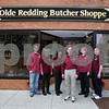 AMY SWEENEY/Staff photo. Olde Redding Butcher Shoppe employees Tom Sargent, left, Gail Farris, Susan Churchill, Greg Chesnuovitch, Joann Pooler, and Joe Collier. <br /> Olde Redding Butcher Shoppe