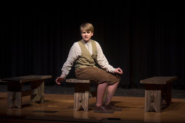 JIM VAIKNORAS/Staff photo Daniel Erikson as Gilbert in the Coolidge Middle School production of Anna of Green Gables at the Reading High School Performing Art Center.