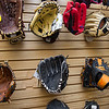 AMANDA SABGA/Staff photo. <br /> <br /> An assortment of baseball gloves available at  Dynamik Sports, a small independent sports apparel store in Reading, has been in business since 1984.<br /> <br /> 9/28/17