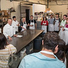 Chef Robert Ozoonian gathers the class around the kitchen of Joseph's Trattoria, as he gives instructions. The group is divided into stations for each course, and Ozoonian bounces from station to station, providing instructions and giving pointers.<br /> Photo by Don Toothaker<br /> May 22, 2016