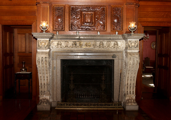"AMY SWEENEY/Staff photo.  ""Napoleon Fireplace"" The fireplace is one of many that Searles collected during his extensive travels abroad. This is made from hand-carved marble inlaid with pure gold leaf, It was originally in the great hall of the Palace of Tuileries in France.  2/11/15"