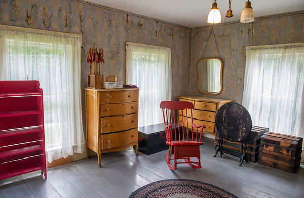 This room is said to be the Campbell's master bedroom, still maintaina its original wallpaper. AMANDA SABGA/ STAFF PHOTO<br /> <br /> The Campbell Farm house in Windham NH on June 26, 2015.