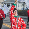 Maddy Prideaux of the Arabella Color Guard in the Beverly Holiday Parade, Sunday, November 26, 2017. Jared Charney / Photo