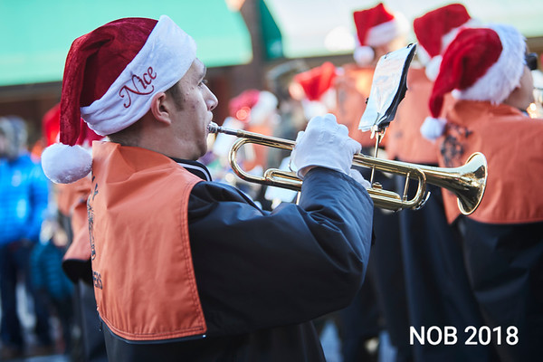 Beverly High School marching band play holiday songs during the Beverly Holiday Parade, Sunday, November 26, 2017. Jared Charney / Photo