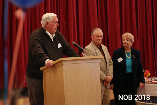 HADLEY GREEN/Staff photo<br /> <br /> Endicott College president Dick Wiley speaks at Beverly Senior Center's 25th anniversary celebration after the college was recognized for its volunteer efforts at the center.<br /> <br /> 11/14/17