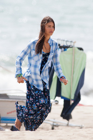 Maggie Q and Helena Vestergaad seen on the beach