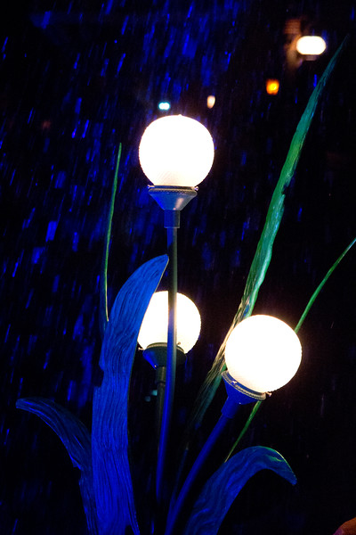 Lamp and water feature outside the Ariel greeting area