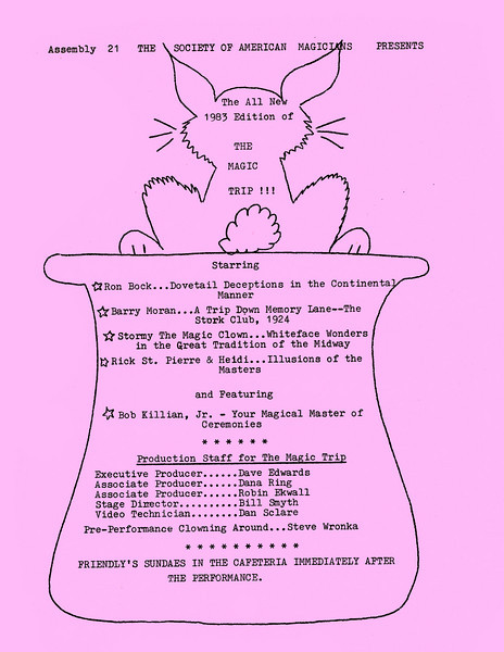 Flyer for the SAM #21 fundraiser in 1983 (look how they spelled Wronker...)