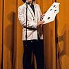 Steve Wronker performing Chase the Ace, December 1984, Wetherfield High School Auditorium, SAM21 fundraiser