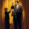 Bob Killian performing a card trick, December 1984, Wetherfield High School Auditorium, SAM21 fundraiser
