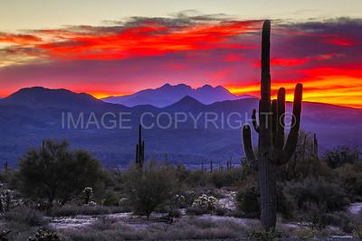 Sunrise over Four Peaks Mountain