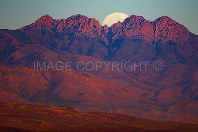 Moonrise over Four Peaks Mountain 1