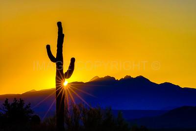 Sunrise over Four Peaks Mountain, Arizona