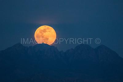 Moonrise over Four Peaks Mountain