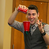 Magician Todd Migliacci makes a cup float on Tuesday February 21, 2017 during his show at the Leominster Library. SENTINEL & ENTERPRISE/JOHN LOVE