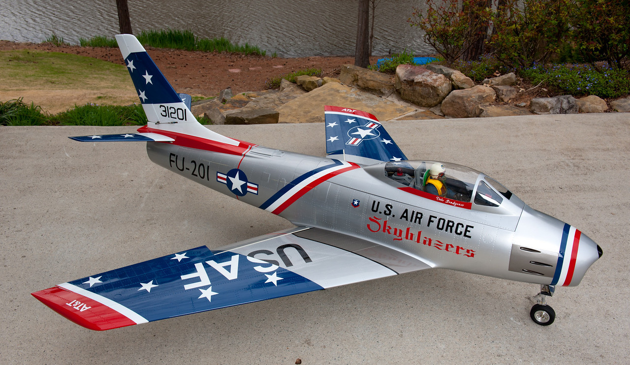 Skymaster F86 Sabre Jet.  Powered by a Jet Central Rabbit with 20 pounds of thrust.