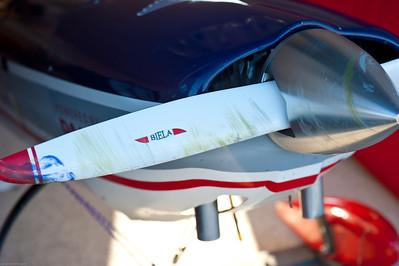 DA100 and a carbon fiber prop meets British Spitfire foamy...no problem.