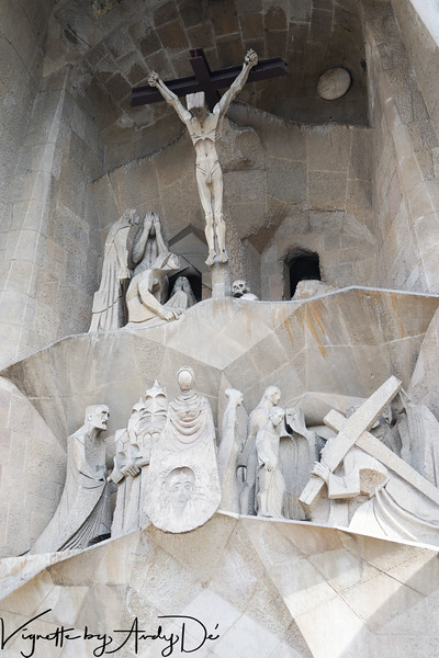 The PASSION FACADE of the SAGRADA FAMILIA  has been recently built. This façade represents the passion and the death of Jesus. According with this function, it has an austere and extraordinarily naked appearance, with geometric edged forms.<br /> The sobriety of the façade is visible also by the presence of bone shaped columns and the sober sculptures carried out by Josep Maria Subirachs adding drama to the already deliberately grim Gaudí design.