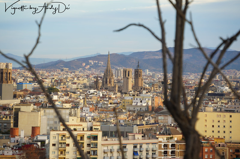 The celebrated magnum-opus of ANTONI GAUDI, the SAGRADA FAMILIA, as seen from the apex of the MONTJUIC!