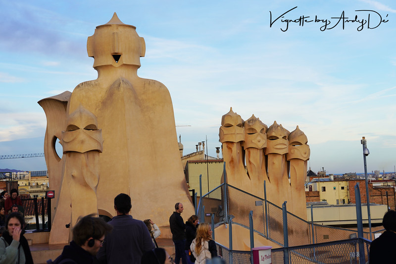 GAUDI's attention to detail is mind boggling, especially since he was juggling multiple high involvement projects with the SAGRADA FAMILIA all at the same time! This is the rooftop of the LA PEDRERA, aligned with the Modernism architecture of the structure!