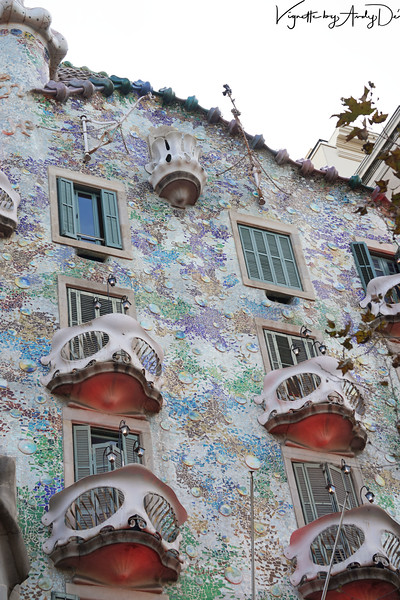 CASA BAIO with the Facade designed by ANTONI GAUDI to his signature MODERNISME, is a huge tourist attraction in Barcelona! We stayed here admiring his visionary designs for over 20 minutes!