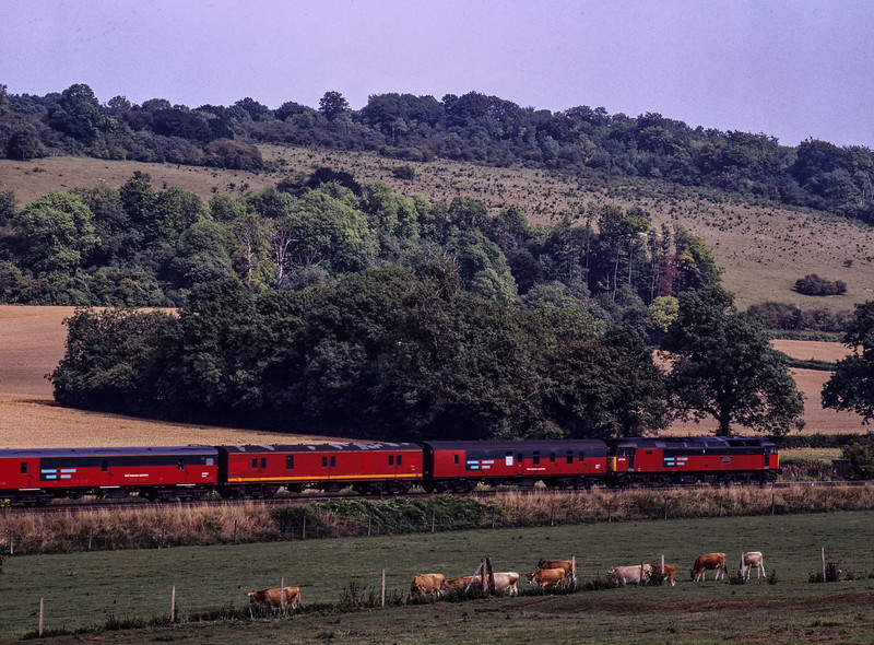 47745 passes through the countryside near Abinger Hammer with 5O81,<br /> the 09:47 Bristol - Tonbridge Empty Mail Vans, on 16th August 1996. Scanned transparency.